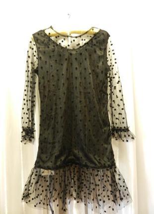 Платье сетка фатин в горох с прозрачными рукавчиками