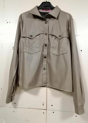 Рубашка эко кожа с длинным рукавом застёгивается на кнопки универсальная вещь