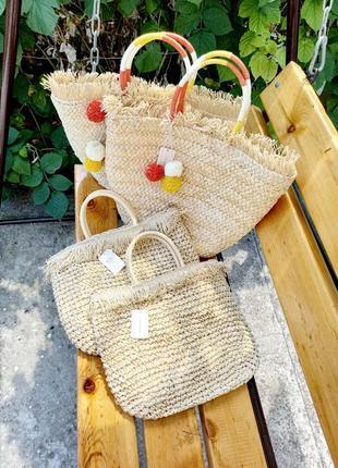 Сумка корзина соломенная плетенная / сумка для пляжа моря
