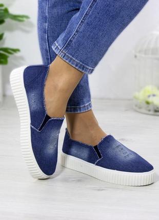 Женские слипоны мокасины джинс