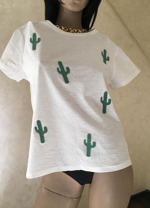 Белая футболка  майка топ кэжуал casual стразы бисер камни  кактус от next