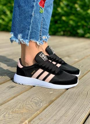 """Кросівки жіночі чорні з рожевим adidas iniki runner i-5923 boost """"black pink"""""""