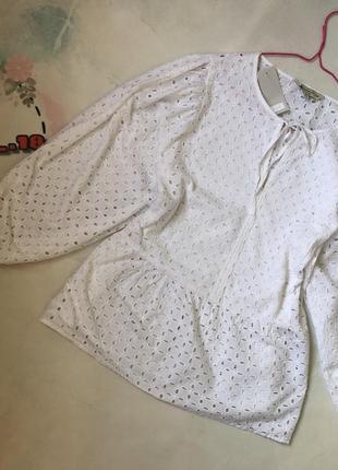Шикарная хлопковая блуза из прошвы