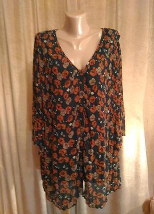 Плиссированная шифоновая блузка zizzi с цветочным принтом размер 2xl, 3xl