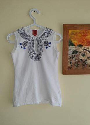 Pedro del hierro маечка,майка женская с вышивкой,вышивка, белая майка pedro del hierro