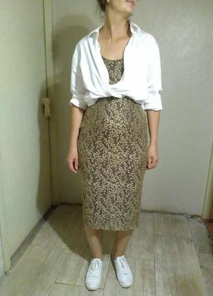 Платье миди карандаш футляр бежевое кружево бельевой стиль