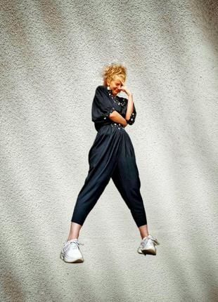 Винтажные шаровары брюки штаны высокая посадка из вискозы на кокетке резинке галифе с защипами