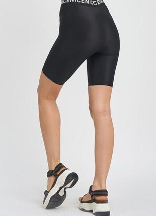 Черные велосипедки капри,шорты,с принтованной поясной резинкой