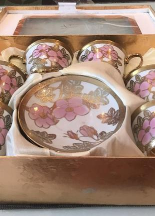 Чайно-кофейный набор, 6 персон, новый.