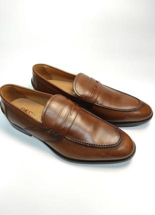 Лоферы туфли кожа geox respira оригинал! коричневые классика2 фото