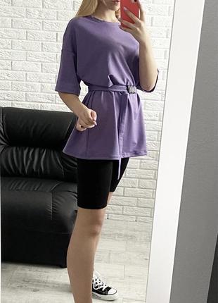Костюм с шортами летний женский велосипедки футболка лиловый фиолетовый