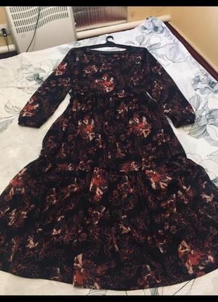 Очень красивое модное шифоновое платье воланы