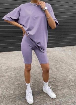 Костюм с шортами летний женский велосипедки футболка лиловый