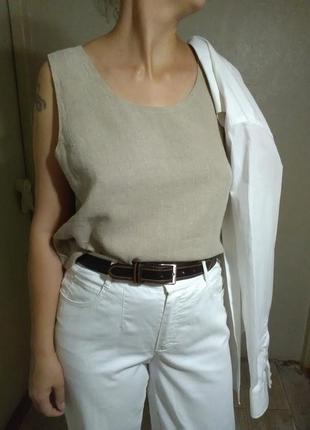 Блузка блуза майка топ кроп лен льняная бежевая оверсайз прямая свободная