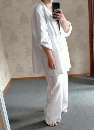 Цена только сегодня! 100% лен обалденный костюм оверсайз бадахон широкие брюки палаццо и  рубаха удлиненная