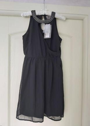 Платье чёрный сарафан из шифона и декор бисера