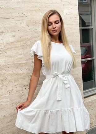 Платье летнее женское легкое свободное короткое мини батал с поясом лен