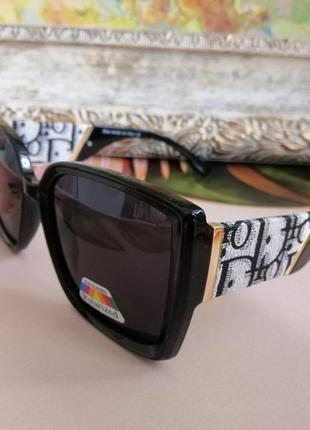 Эксклюзивные брендовые чёрные солнцезащитные женские очки с поляризацией 2021