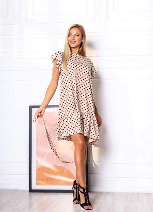 Платье летнее женское легкое свободное миди длинное в горошек бежевое