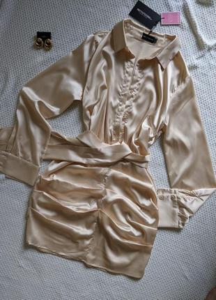 Сатинова сукня-рубашка кольору шампань