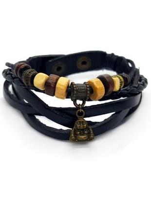 🌊🦅 многослойный браслет с подвеской будда в эко-стиле
