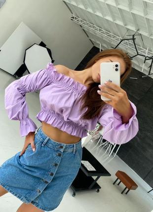 Топ блузка плечи с рюшами