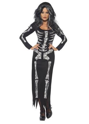 Платье мортиша скелет призрак ведьма чёрное костюм