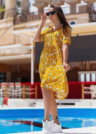 Платье летнее батал женское легкое свободное миди длинное цветочное