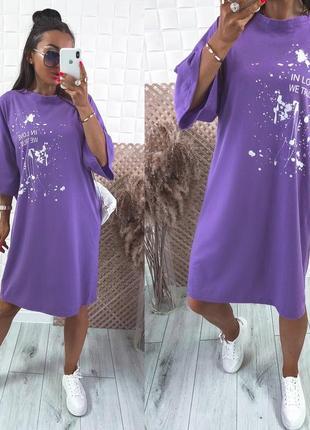 Женское платье в стиле удлиненная футболка с принтом2 фото