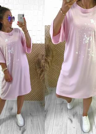 Женское платье в стиле удлиненная футболка с принтом3 фото