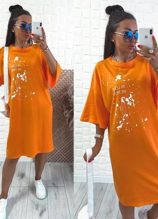 Женское платье в стиле удлиненная футболка с принтом4 фото