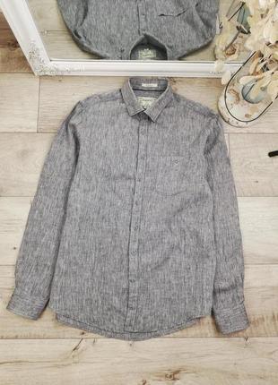 Фирменная шикарная льняная рубашка с длинным рукавом enger 100% лен