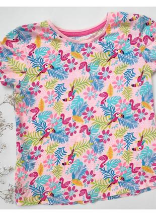 Футболка фламинго яркая летняя детская цветы птички
