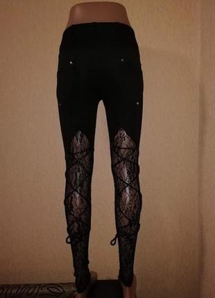 Красивые женские черные лосины, леггинсы со шнуровкой и кружевом exclusive