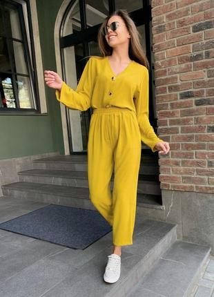 Летний желтый костюм креп жатка
