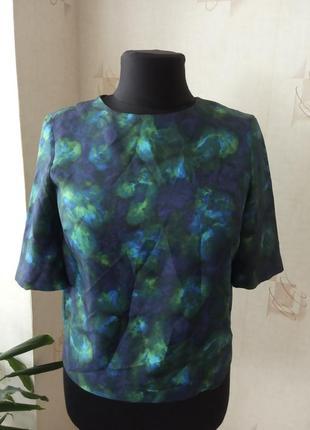 Натуральная блуза, павлин, шелк, галактика