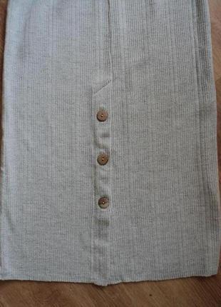 Трикотажная серая юбка миди размер 34 xs 425 фото