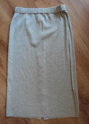 Трикотажная серая юбка миди размер 34 xs 427 фото