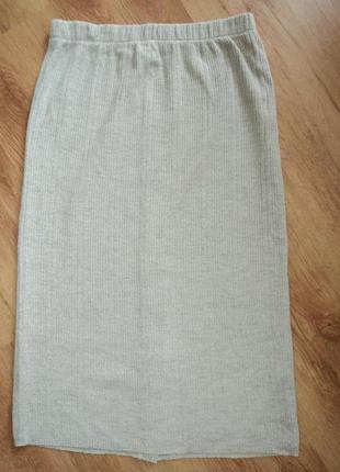 Трикотажная серая юбка миди размер 34 xs 421 фото