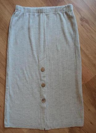 Трикотажная серая юбка миди размер 34 xs 422 фото