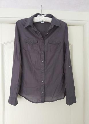 Серая легкая блуза 100% хлопок рубашка