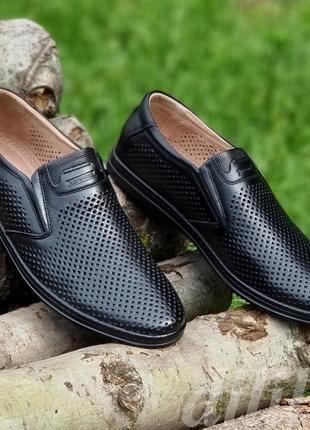 Мужские туфли летние кожаные черные - чоловічі туфлі літні шкіряні чорні3 фото