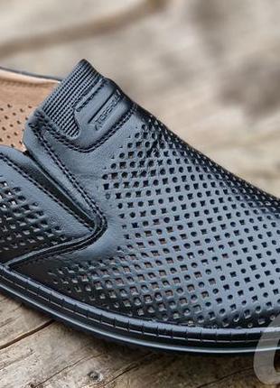 Мужские туфли летние кожаные черные - чоловічі туфлі літні шкіряні чорні9 фото