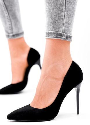 Женские туфли на шпильке чёрные1 фото