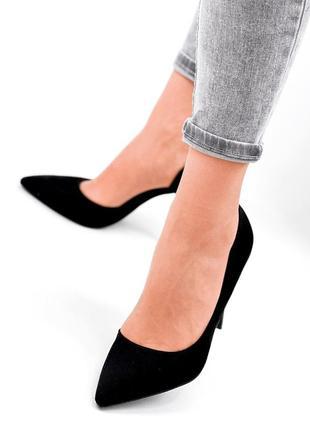 Женские туфли на шпильке чёрные5 фото