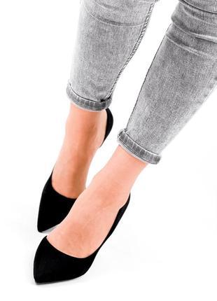 Женские туфли на шпильке чёрные8 фото