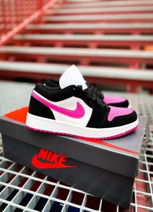 """Nike air jordan 1 low """"white/black/pink женские деми черно розовые кроссовки найк жіночі чорно рожеві кросівки"""