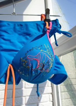 Купальник раздельный голубой синий яркий3 фото