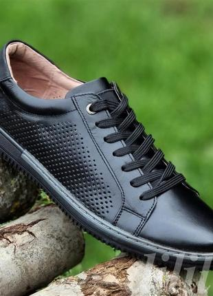 Мужские туфли летние кожаные черные - чоловічі туфлі літні шкіряні чорні