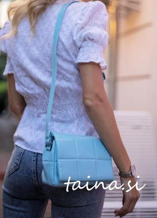 Женская сумка голубая сумка через плечо стеганый мини клатч голубой стеганая сумка кроссбоди1 фото